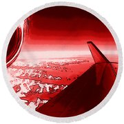 Round Beach Towel featuring the photograph Red Jet Pop Art Plane by R Muirhead Art