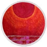 Red Kachina Original Painting Round Beach Towel