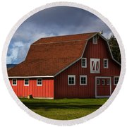 Round Beach Towel featuring the photograph Red Kirsop Barn by Jean OKeeffe Macro Abundance Art