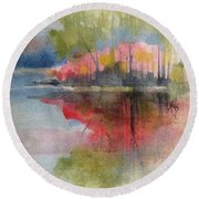 Red Lake Reflection #2 Round Beach Towel