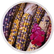 Red Leaf And Indian Corn Round Beach Towel