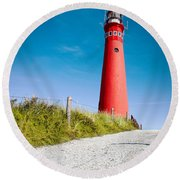 Red Lighthouse And Deep Blue Sky. Round Beach Towel