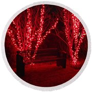 Red Lights And Bench Round Beach Towel by Rodney Lee Williams