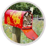Round Beach Towel featuring the painting Red Mailbox by Lanjee Chee