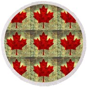 Red Maple Leaf Round Beach Towel