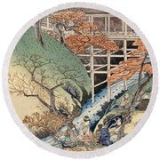 Red Maple Leaves At Tsuten Bridge Round Beach Towel