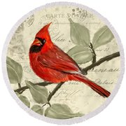 Red Melody Round Beach Towel