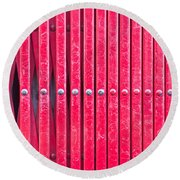 Red Metal Bars Round Beach Towel