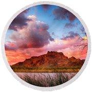 Red Mountain Sunset Round Beach Towel by John Haldane