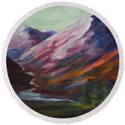 Round Beach Towel featuring the painting Red Mountain Surreal Mountain Lanscape by Yulia Kazansky