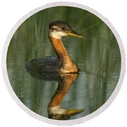 Round Beach Towel featuring the photograph Red-necked Grebe by James Peterson