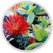 Red Ohia Lehua Flower Round Beach Towel
