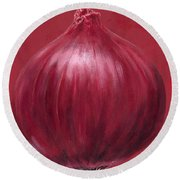 Red Onion Round Beach Towel by Brian James