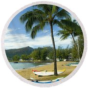 Red Outrigger Canoe In Kauai Round Beach Towel