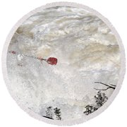 Round Beach Towel featuring the photograph Red Paddle by Carol Lynn Coronios