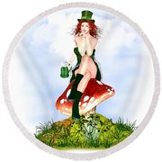 Red Pat Round Beach Towel by Renate Janssen