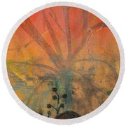 Round Beach Towel featuring the painting Red Peace Bird by Robin Maria Pedrero