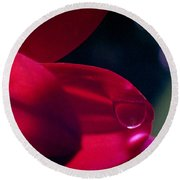 Round Beach Towel featuring the photograph Red Petal by Mark Greenberg