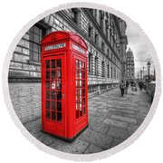 Red Phone Box And Big Ben Round Beach Towel