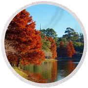 Red Pine On Lake Ella Round Beach Towel