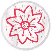 Red Poinsettia Round Beach Towel