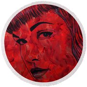 Red Pop Bettie Round Beach Towel