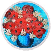 Red Poppies And White Daisies Round Beach Towel