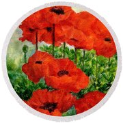 Red  Poppies In Shade Colorful Flowers Garden Art Round Beach Towel