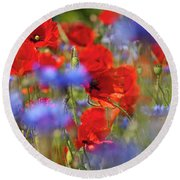 Red Poppies In The Maedow Round Beach Towel by Heiko Koehrer-Wagner