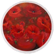 Red Poppies Round Beach Towel by Jenny Lee