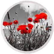 Red Poppies On Black And White Background Round Beach Towel by Dany Lison