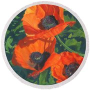 Round Beach Towel featuring the painting Red Poppies Three by Lynne Reichhart