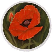 Red Poppy Round Beach Towel by Anastasiya Malakhova