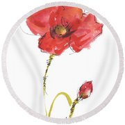 Red Poppy And Bud Round Beach Towel
