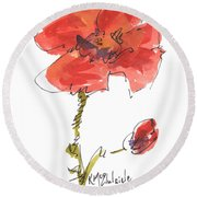 Red Poppy And Pal Round Beach Towel