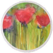 Red Poppy Elegance Round Beach Towel