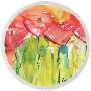 Red Poppy Party Round Beach Towel