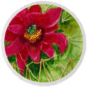Red Prickly Pear Round Beach Towel by Eric Samuelson