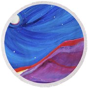 Round Beach Towel featuring the painting Red Ridge By Jrr by First Star Art
