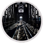 Round Beach Towel featuring the photograph Red River Rail Road Crossing by Diana Mary Sharpton