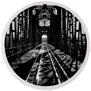 Red River Rail Road Crossing In Bw Round Beach Towel by Diana Mary Sharpton