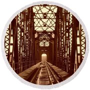 Round Beach Towel featuring the photograph Red River Train Bridge #1 by Robert ONeil