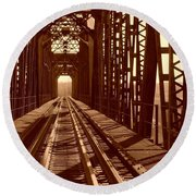 Round Beach Towel featuring the photograph Red River Train Bridge #2 by Robert ONeil