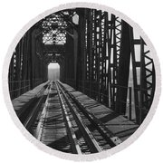 Round Beach Towel featuring the photograph Red River Train Bridge #3 by Robert ONeil