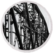 Round Beach Towel featuring the photograph Red River Train Bridge #4 by Robert ONeil