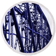Round Beach Towel featuring the photograph Red River Train Bridge #5 by Robert ONeil