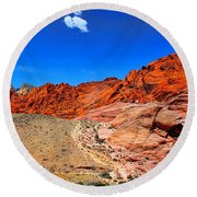 Red Rock Canyon Round Beach Towel by Mariola Bitner