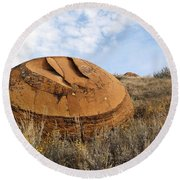 Red Rock Coulee I Round Beach Towel by Leanna Lomanski
