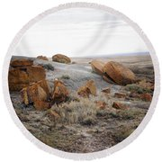 Red Rock Coulee II Round Beach Towel by Leanna Lomanski