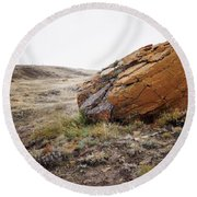 Red Rock Coulee IIi Round Beach Towel by Leanna Lomanski